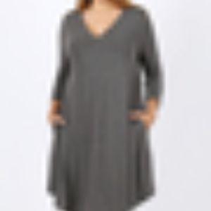 NEW Plus Charcoal Round Hem A-Line Dress Pockets